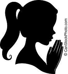祈る, 女の子, シルエット, イラスト, 手