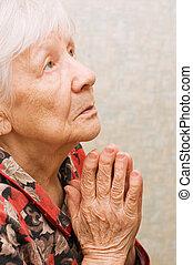 祈る, 女, 古い, 部屋