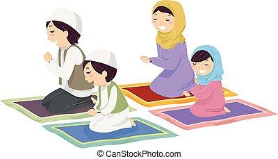 祈る, muslim, stickman, 家族, イラスト