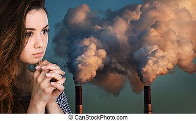 祈祷, 妇女, 对, 在中, 管子, 污染, 一, 气氛