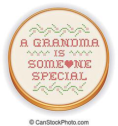 祖母, ステッチ, 刺繍, 交差点