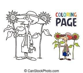 祖母, ページ, 漫画, ひまわり, 着色