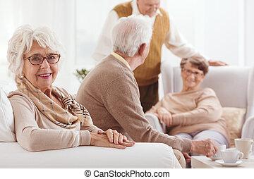 祖母, モデル, ソファー