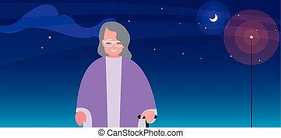 祖母, 夜, 古い, スティック, 歩きなさい