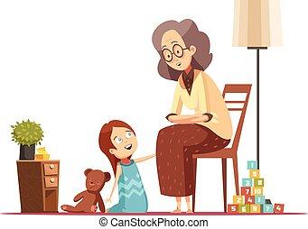祖母, 子供, 漫画, レトロ