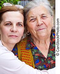 祖母, 幸せ, -, 肖像画, 娘, 家族