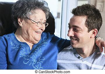 祖母, 彼の, 部屋, 孫