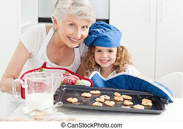 祖母, 很少, 她, 看, 照像機, 女孩