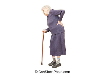 祖母, 白, 杖, 保有物, 背景