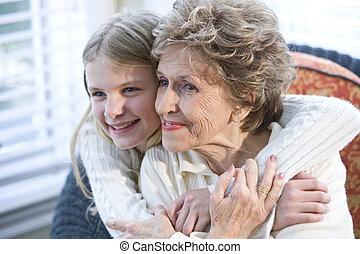 祖母, 肖像画, 孫, 幸せ