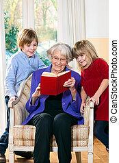 祖母, 読書, 彼女, 孫