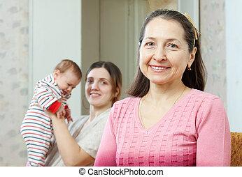 祖母, 赤ん坊, 若い, 背景, 母