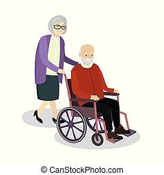 祖母, 車椅子, 古い, モデル, 回転する, 人