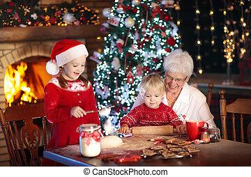 祖母, cookies., 子供, 焼きなさい, クリスマス