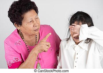 祖母, grandchild., しかる, 彼女