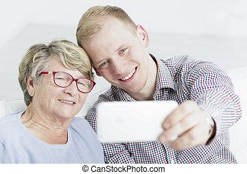 祖母, selfie, 私, 最愛の人