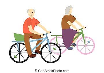 祖父母, イラスト, bicycles.