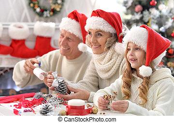 祖父母, 一緒に, 準備, 孫, クリスマス, 幸せ
