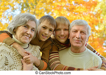 祖父母, 公園, 子供