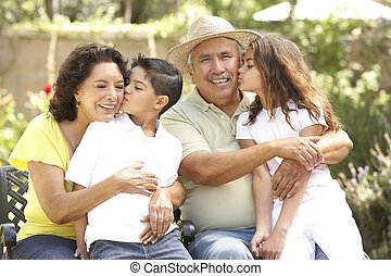 祖父母, 公園, 孫, 肖像画