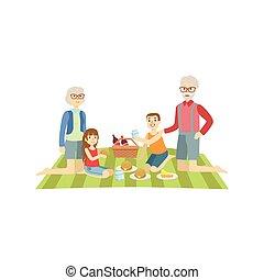 祖父母, 子供, ピクニック, 持つこと