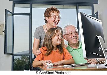 祖父母, 孫娘, コンピュータ