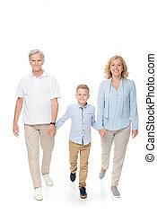 祖父母, 孫, 手を持つ