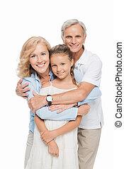 祖父母, 孫, 抱き合う