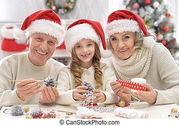 祖父母, 孫, 準備, 一緒に, クリスマス