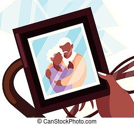 祖父母, 幸せ, デザイン, 日, 平ら