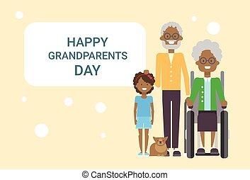 祖父母, 挨拶, 一緒に, 祖父, 祖母, アメリカ人, 孫, アフリカ, 旗, 日, カード, 幸せ