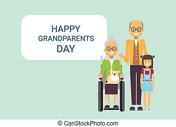 祖父母, 挨拶, 一緒に, 祖父, 祖母, 孫, 旗, 日, カード, 幸せ