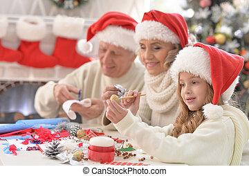 祖父母, 準備, クリスマス, 幸せ, 一緒に, 孫