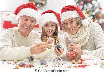祖父母, 準備, 孫, クリスマス