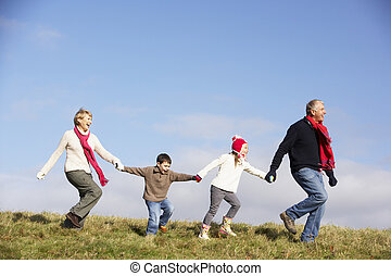祖父母, 跑, 公园, 孙