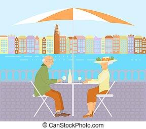 祖父母, 通り, カフェ