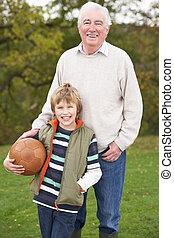 祖父, ∥で∥, 孫, 保有物の フットボール, 外