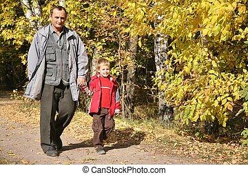 祖父, ∥で∥, ∥, 孫, 入って来なさい, 公園, 中に, 秋