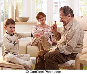 祖父, 告訴, 講一個故事, 到, 孫子