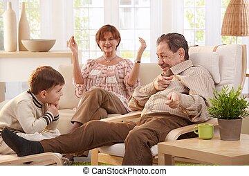 祖父, 告訴, tales, 到, 孫