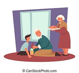 祖父, 祖母, 遊び, 祖父母, パテ, 孫