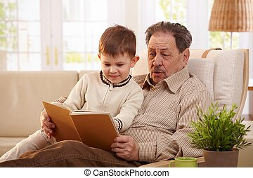 祖父, 讀書, 到, 孫子