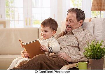 祖父, 閱讀, tales, 到, 孫子