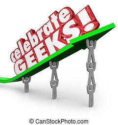 祝いなさい, geeks, 人々, nerds, 持ち上がること, 矢, 言葉