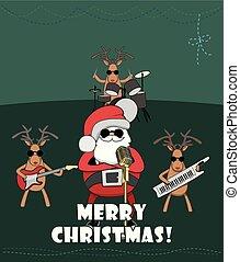 祝いなさい, quartet., トナカイ, santa, 休日, クリスマス