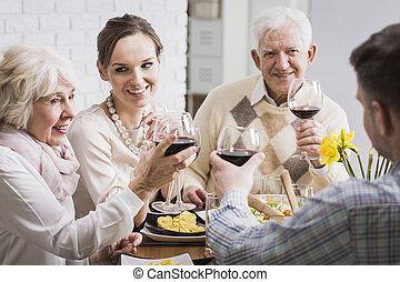 祝う, これ, ガラス, 瞬間, すばらしい, ワイン