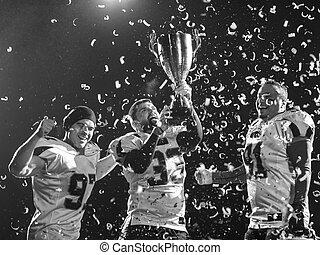祝う, アメリカン・フットボール, 勝利, チーム