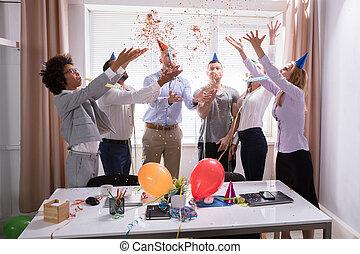 祝う, グループ, businesspeople, オフィス