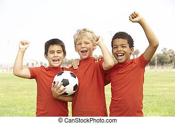 祝う, フットボール, 女の子, 若い, チーム