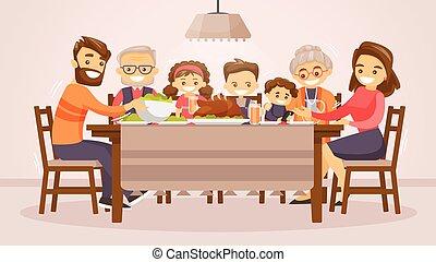 祝う, 休日, 感謝祭, 家族, card.